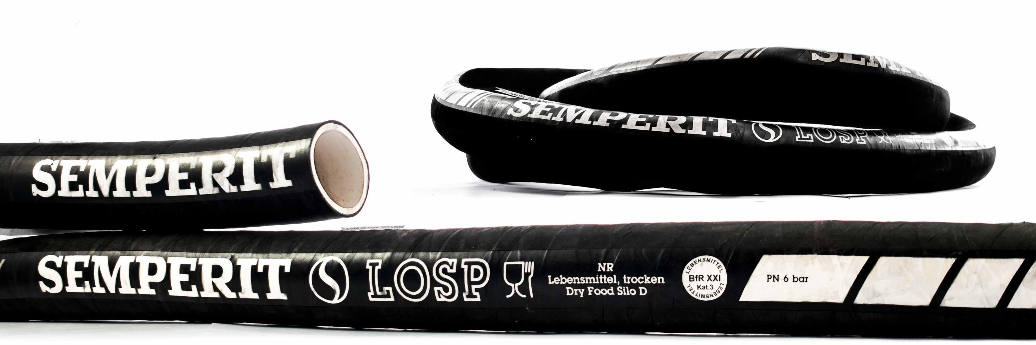Wąż przemysłowy do substancji spożywczych, sypkich, trudnościeralny - SILO LOSP Semperit