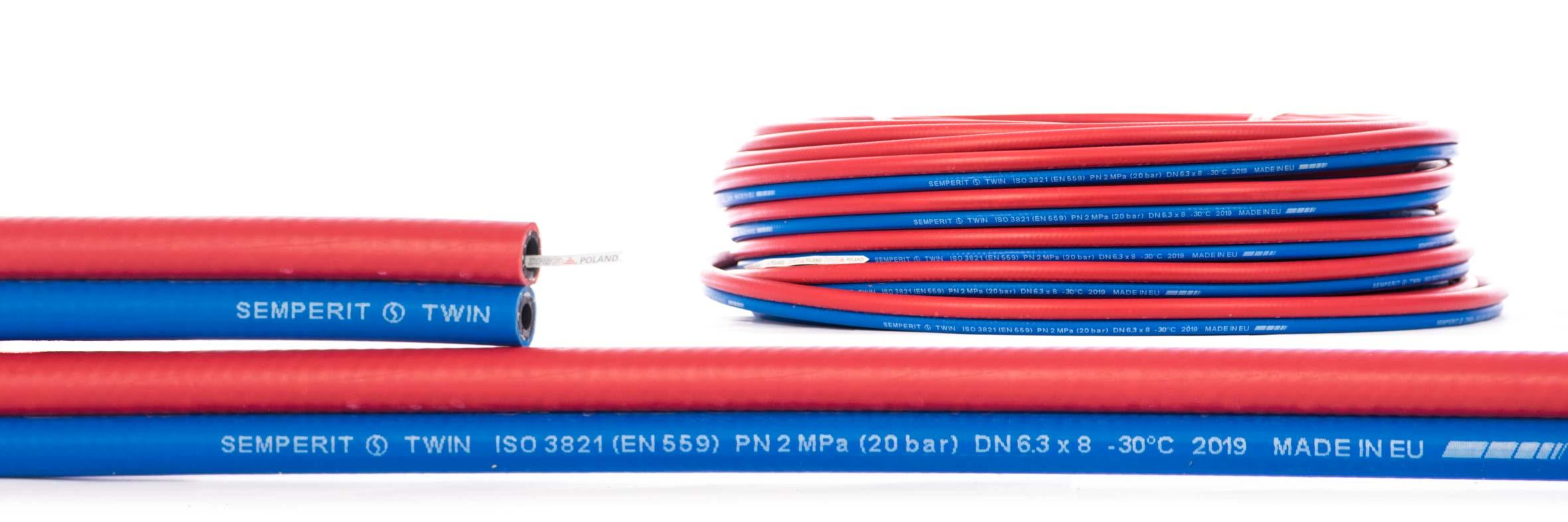 wąż przemysłowy do spawalnictwa do tlenu i acetylenu TWIN Semperit 20 bar